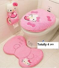 4Pcs Hello Kitty Toilet seat Cover Rug Set seat cover bath mat close stool lid