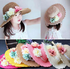 New Spring Summer Girls Kids Flower Straw Cap Sun Bucket Hat Cozy
