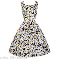 PRETTY KITTY NAVY WHITE DAISY FLORAL SWING ROCKABILLY VINTAGE PROM DRESS 8-20