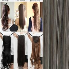 new drawstring clip In ponytail pony tail hair extension wrap around as human ac