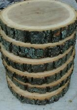 "9  Pc  7-8 ""Oak Log Round Slice Wood Disk Rustic Wedding Coaster Support charty!"