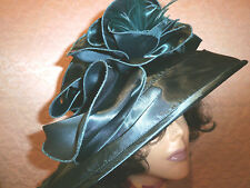 DARK TEAL SATIN DESIGNER COLLAPSIBLE LADIES DERBY DRESS FASHION HAT NEW WITH TA