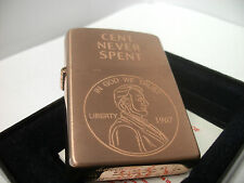 RARE Zippo Windproof Collectible Lighter 'Cent Never Spent' SOLID COPPER UNUSED