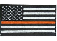 "(F29) ORANGE LINE Subdued AMERICAN FLAG 3.5"" x 2"" iron on patch (4840) Stripe"