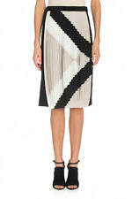 NWT TIBI  Pleated Silk Ivory black beige Maritime Border Size 6 Skirt Sold out!