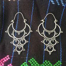 Silver Plated Tribal Circle Drop Hoop Earrings