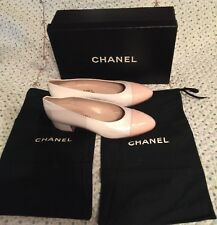 CHANEL Two Colors Off White Powder Peach leather Ballet Flats Shoes 96P Size36B