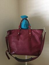 TUMI RED COATED LEATHER TOTE SHOULDER TOP ZIP HANDBAG