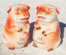 VINTAGE 1950'S PAIR OF HAND PAINTED CERAMIC PIG SALT & PEPPER SHAKERS - JAPAN