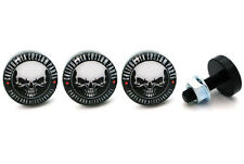 "4 Black Billet Aluminum - Custom License Plate Frame Tag Bolts - ""CCP Skull"""