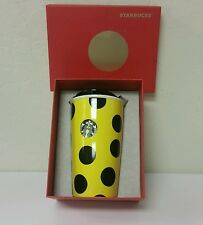 Starbucks Yellow Polka Dot Mug Ceramic Travel Coffee Cup 2015 Collection - NIB
