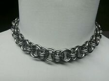 Full Stainless Steel Chainmail Choker Necklace Helm Weave Punk Goth Steam collar