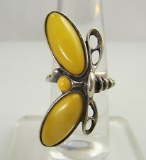 NEAT HANDMADE BUTTERSCOTCH AMBER DRAGON FLY RING VINTAGE