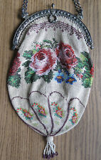 BEAUTIFUL ROSE & FLORAL MICRO BEADED PURSE w/ 800 SILVER REPOUSSE FRAME ANTIQUE