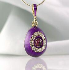 Garnet Eye Jewelry Pendant Guilloche Purple Enamel Sterling Silver Egg Necklace