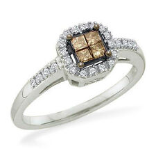 Nice! 14K White Gold Invisible-Set Princess Chocolate Brown Diamond Ring .25ct