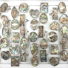 Big Abalone Shell Rings Heart, Round, Square, Eye Shape 50pcs/lot Wholesale
