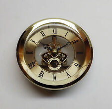 "Skeleton Insert Clock Movement NEW Quartz Battery Fit Up 4 1/16"" Gold Roman Dial"