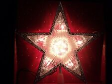 CHRISTMAS LIGHTED SILVER SCROLL ICE HOLY STAR TREE TOP TOPPER HOLIDAY DECORATION