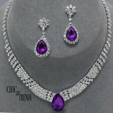 CLASSIC PURPLE & CLEAR RHINESTONE CRYSTAL WEDDING FORMAL NECKLACE JEWELRY SET