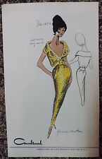 Vtg 50s 60s Cardinal Hand Colored Fashion Stat Sheet Sketch Florence Schatken