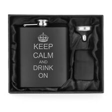 Matte Black 7oz Stainless Steel Hip Flask + Lighter + Funnel  Keep Calm Drink on
