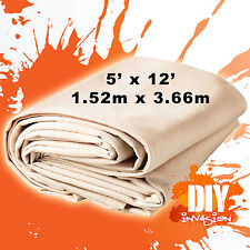 Phoenix Heavy Duty Canvas Drop Sheet Drop Cloth 5' x 12' Paint & Dust Protection