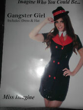 NEW ADULT SEXY FANCY DRESS WOMAN'S GANGSTER GIRL HALLOWEEN HEN PARTY SIZE 8 / 10