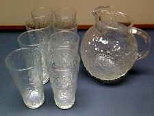 Vintage Textured Glass Round Water/Juice Pitcher and 8 Glasses