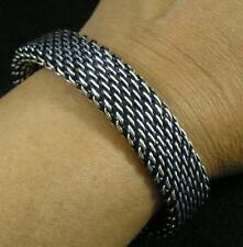 "Antiqued Silver over Copper Woven Bracelet 8 1/2"" Chain Maille Large Men Women"