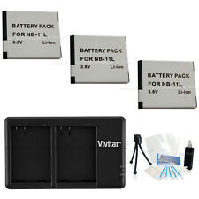 3X NB-11L Replacement Battery & USB Dual Charger for Canon A3400 4000 2300 ELPH
