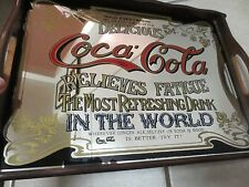 VINTAGE BAR FRAMED MIRROR  COCA COLA  ADVERTISING '/TRAY 15 1/2'' X 11 1/2''