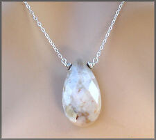 *PI*Natural faceted WHITE TURQUOISE briolette HILL TRIBE .925 Necklace! SUNDANCE