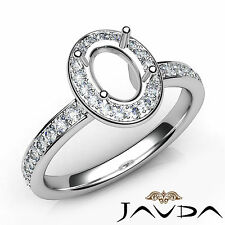 Halo Pave Setting Oval Diamond Engagement 14k White Gold Semi Mount Ring 0.45Ct