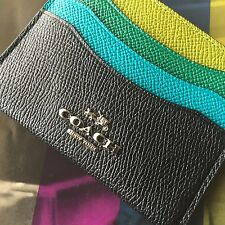 Coach 64859 Black Multi-color Colorblock Leather Flat Card Case Wallet NWT
