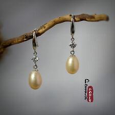 Boucles d`Oreilles Nacre Perle Culture Goutte Rose Argent Massif 925 8mm-9mm H