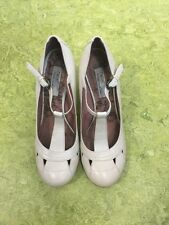 NEXT MADE WITH LOVE Cream Leather T Bar Mid Heel Shoes SZ 6 WORN ONCE