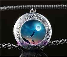 Moonlight Black Cat Cabochon Glass Tibet Silver Locket Pendant Necklace#O79