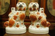 Pair of Vintage Porcelain Dog and Puppies Spaniels