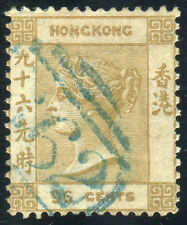 Hong Kong 1865' R2 QV 96c Olive-Bistre used with Wmk Shift, Missing Part Variety