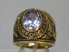 United States Air Force Military Lt Amethyst June CZ Birthstone Men Ring Size 11