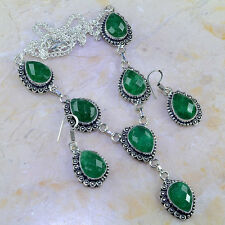 STUNNING NEW GENUINE REGAL EARTH MINED EMERALD 925 SILVER EARRINGS NECKLACE SET