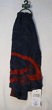 Lauren Ralph Lauren Equestrian Themed 100% Rayon Scarf NWT Navy & Red