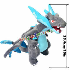 "New 10"" Pokemon Charizard Mega X Kids Toy Soft Plush Stuffed Doll Toy Xmas Gift"