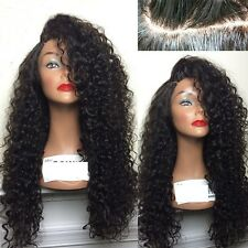 Natural Black Synthetic Lace Front Wig Kinky Wavy Curly Long Hand Weave Hair Wig