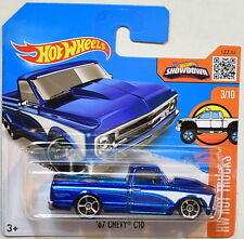 HOT WHEELS 2016 HW HOT TRUCKS '67 CHEVY C10 #3/10 BLUE SHORT CARD