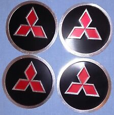 Black & Red Colour Wheel Center Cap Stickers (Mitsubishi) 55mm
