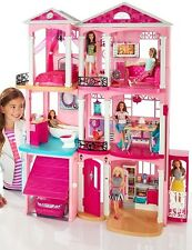 Pink Doll House Barbie Dream Furniture 3 Story Dollhouse Girls Play Accessories
