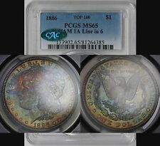 1886 VAM-1A Line in 6 Top-100 Morgan Dollar $1 MS 65 PCGS CAC Color Toned