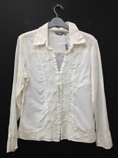 Per Una - Cream Embroidered Long Sleeved Blouse Size Uk 14 (R119) BNWT